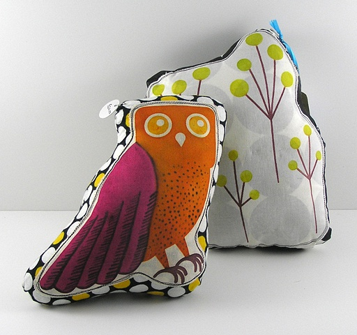 Mod Owl and Tree Pillows