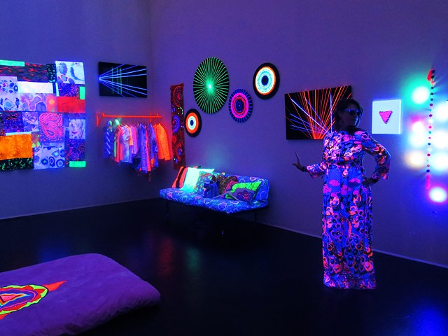 black light glow installation queer contemporary art inner space weaving textile