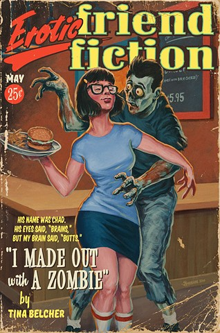 erotic zombie friend fiction vintage pulp edition print by Stephen Andrade 2016 Bob's Burgers Tina Belcher Chad the Zombie Gallery1988 G1988