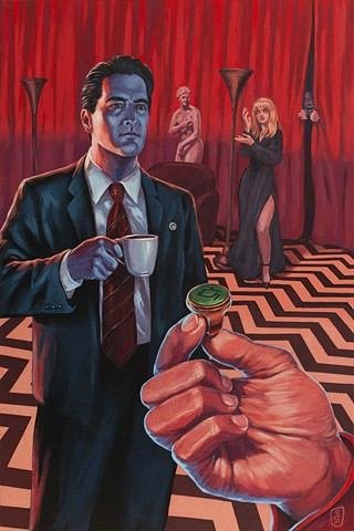 The Black Lodge painting by Stephen Andrade Spoke Art NYC 2017 David Lynch In Dreams Twin Peaks Dale Cooper Laura Palmer red room owl ring