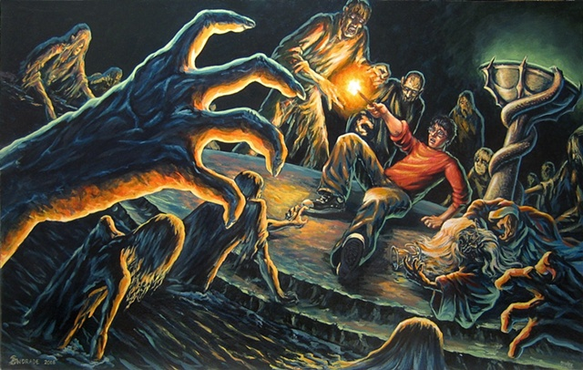 "Harry Potter and Dumbledore fighting Inferni from ""Harry Potter"" painting series by Stephen Andrade"