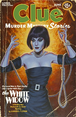 The White Widow Vintage Pulp print by Stephen Andrade Clue Gallery1988 G1988 2015 Madeline Kahn