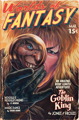 The Goblin King by Stephen Andrade painting Vintage Pulp print 2016 David Bowie Labyrinth Gallery1988 30 Years Later