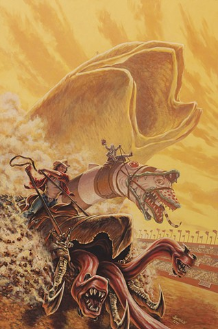 The Great Sandworm Race painting by Stephen Andrade Gallery1988 Crazy 4 Cult 7 New York NYC Tremors Dune Beetlejuice Kevin Bacon