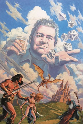 A Pudgy God painting by Stephen Andrade  2015 Patton Oswalt Gallery1988 Gallery 1988 g1988 D&D Dungeons and Dragons