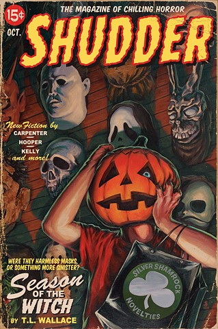 Season Of The Witch painting print by Stephen Andrade Gallery1988 g1988 Crazy 4 Cult Halloween 3 horror movie masks silver shamrock