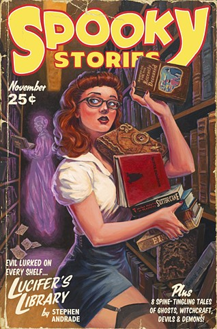 Spooky Stories by Stephen Andrade Gallery1988 g1988 Crazy 4 Cult Crazy4Cult 2015 librarian pinup Ghostbusters Evil Dead Hocus Pocus Ninth Gate Babadook In the Mouth of Madness vintage pulp