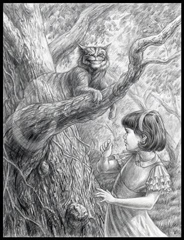 "Drawing of Cheshire Cat from ""Alice in Wonderland"" series by Stephen Andrade"