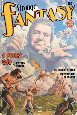 A Pudgy God vintage pulp edition print by Stephen Andrade  2015 Patton Oswalt Gallery1988 Gallery 1988 g1988 D&D Dungeons and Dragons