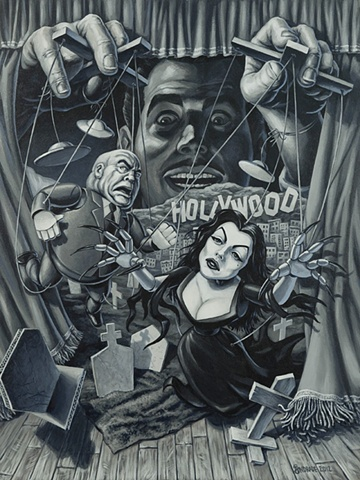 pull the strings ed wood vampirella and tor johnson plan 9 from outer space painting by stephen andrade for crazy 4 cult 6 show in new york 2012gallery 1988
