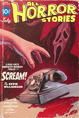 SCREAM! vintage pulp print by Stephen Andrade gallery1988 g1988 20 years later 2016 wes craven scream