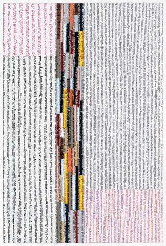 A small collage on paper made from strips of text, cut from old books and magazines.