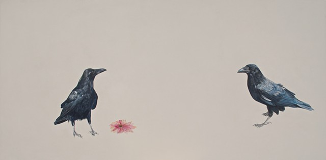 painting of crows, crow painting, Canadian art