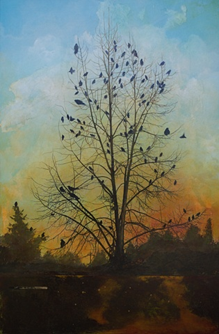 painting of a tree at sunset, British Columbia nature