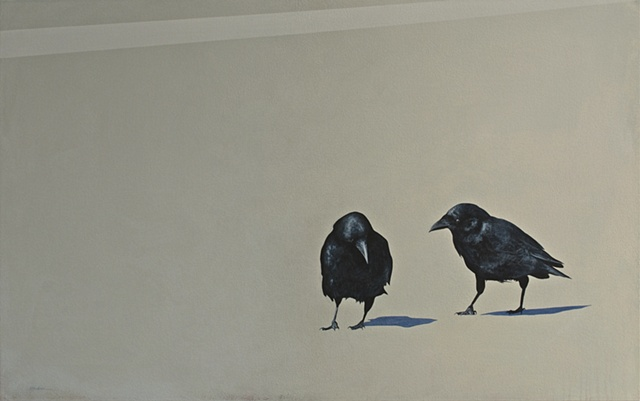 painting of crows on pavement, pair of crows, black and white