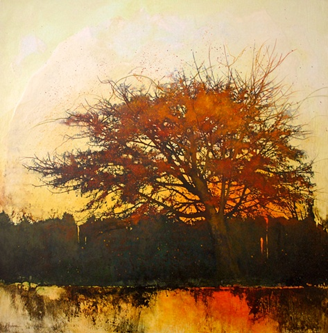 painting of a tree at sundown