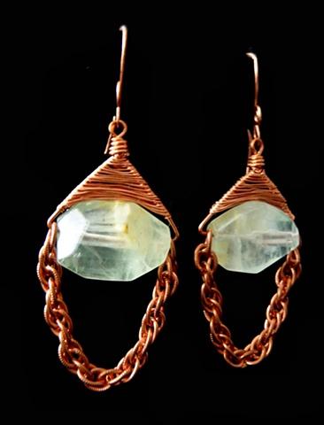 Copper and Citrus Fluorite Earrings