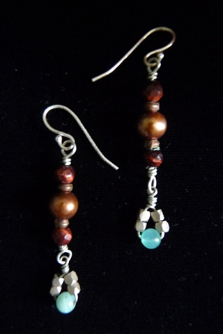 """Freshwater Pearl and Amazonite Earrings for Nara"""