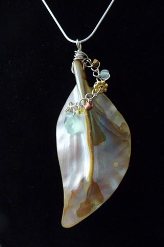 Abalone Shell Leaf Pendant