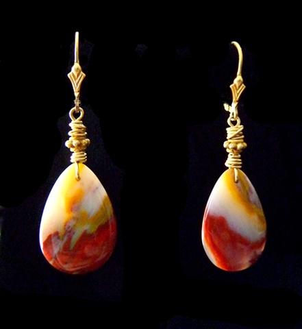 14K Gold-filled Jasper Earrings Front