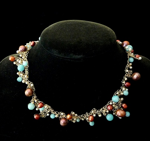 Cranberry Pearls and Amazonite Necklace