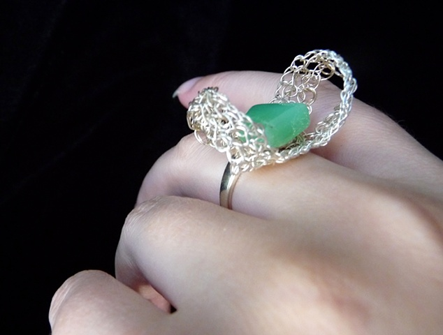 Chrysophrase Butterfly Ring
