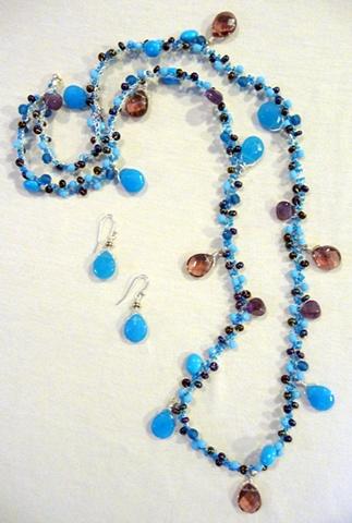 """Honeymoon in Kauai"" Necklace with  ""Blue Mai Tai"" Earrings"