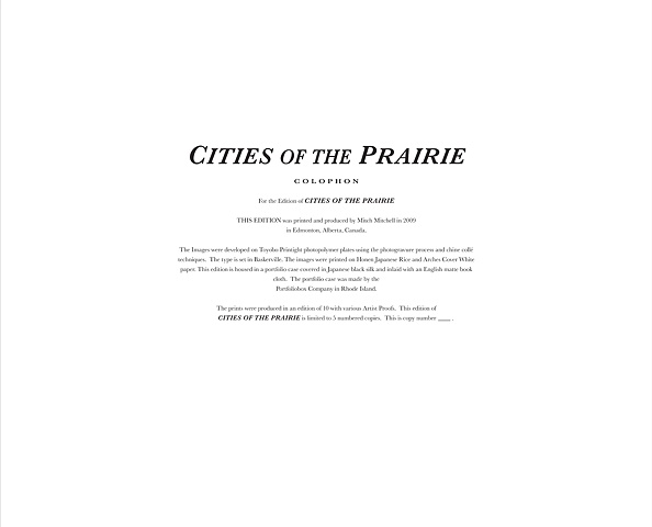 Cities of the Prairie Colophon