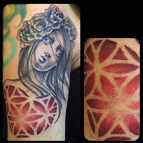 Flower of life heart lady