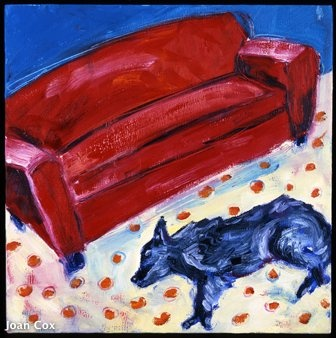 Claribel with red sofa