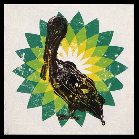 BP Oil Spill Artwork by Joan Cox, Former new Orleans resident, Painting, Brown Pelican Oil in the Gulf of Mexico