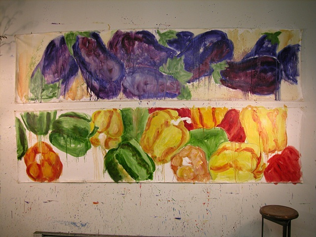 Peppers & Eggplant commission for DONNA's in progress