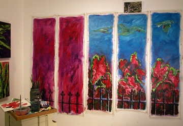 paintings in progress in the studio