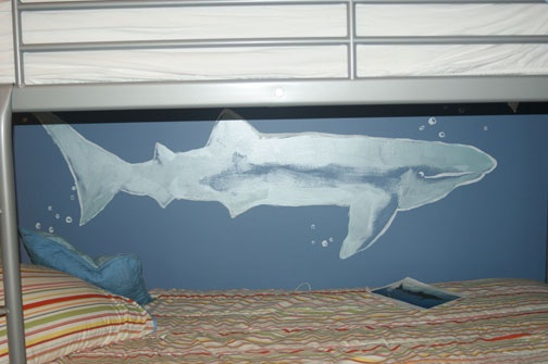 shark whale between the bunk beds