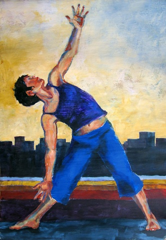 Figure in a yoga pose on city background