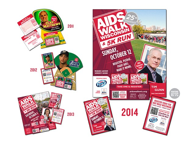 AIDS Walk Wisconsin  2011-2014 Print and Web Marketing Materials (QR Code integrated)  (Point-Of-Purchase shown)  June 2011 August 2012 July 2013 June 2014