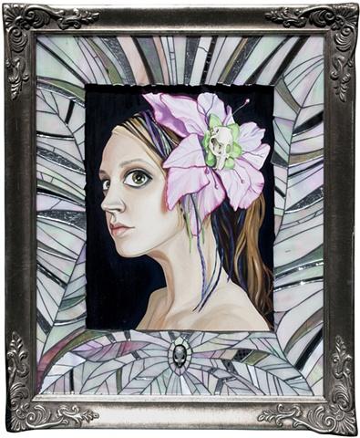 self portrait in mosaic frame