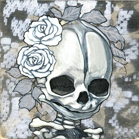 mini memento mori painting