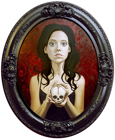 girl with fetus skull