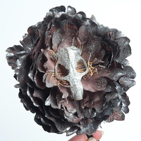 skull flower fascinator
