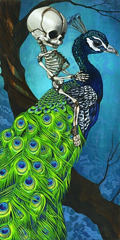 Norman rides a peacock