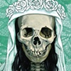 Mini Santa Muerte in white on turquoise