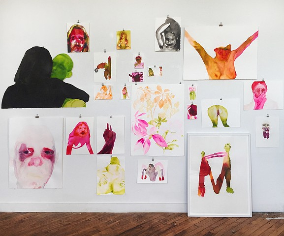 Studio view of 'I Love You And I Am Listening' works on paper installation.