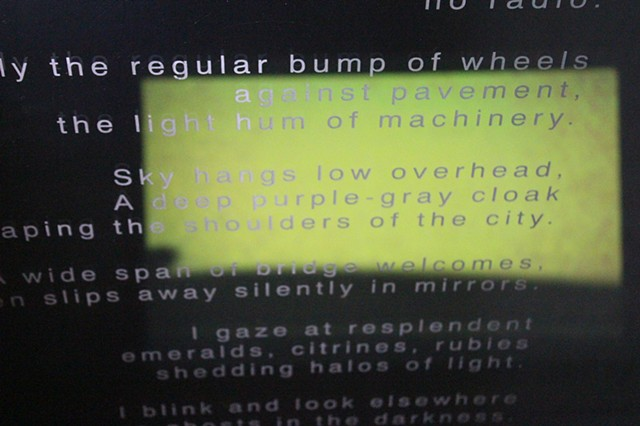 etched text on windshield installation with video projection