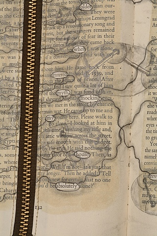 drawing, gouache, zippers, cut, book, bookwork, altered, alter, altered book, altered bookwork, bookwork, altered text, mapping, unique, one of a kind, cut paper, facebook, political art, paper sculpture, dissection,