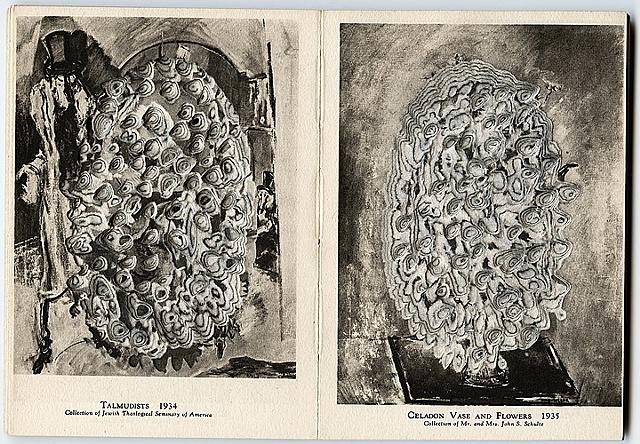 Max Weber, cubist, expressionist, Celadon Vase, Flowers, deconstructed, gouge, bookworks