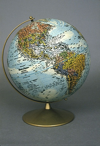 altered text, mapping, unique, one of a kind, political art, sculpture, globe