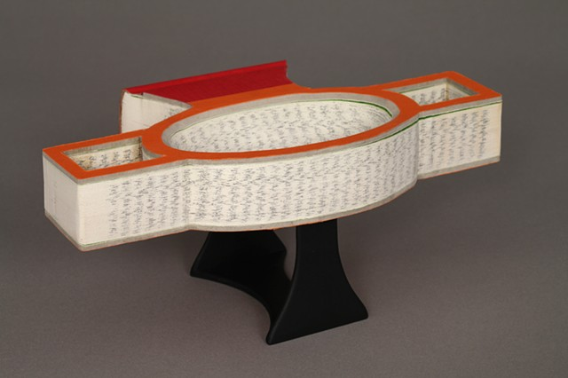 gouge, kylix, ancient, book, bookwork, bookworks, altered book, sculpture, unique book, one of a kind, power tools