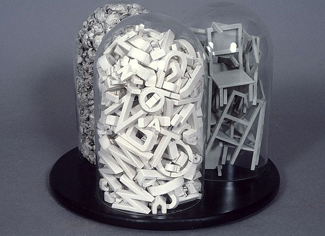 letters, language, bell jars, political art, book, sculpture