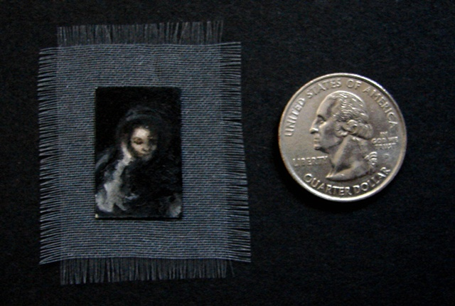 Miniature, framed, oil painting, Death by Jessica Schramm